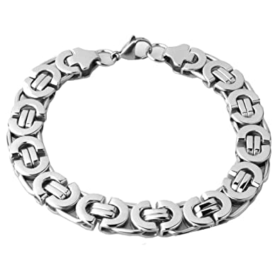 MEN/'S 5//6//8MM Silver Black Tone Stainless Steel Byzantine Link Chain Necklace