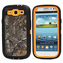 MOONCASE Galaxy S3 Case, [Realtree Camo Series] 3 Layers Heavy Duty Defender Hybrid Soft TPU +PC Bumper Triple Shockproof Drop Resistance Protective Case Cover for Samsung Galaxy S3 I9300 -Orange Withered