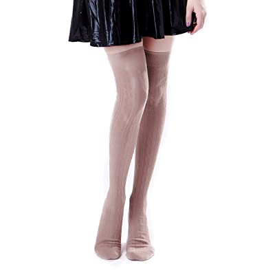 HDE Women's Stockings Solid Color Opaque Cable Knit Over The Knee Socks at Women's Clothing store