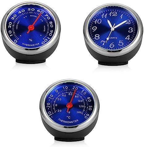 Hamkaw Auto Hygrometer 3 Stück Auto Zubehör Set Fürs Armaturenbrett Uhr Armaturenbrett Thermometer Hygrometer Autos Belüftungsmechanismus Quarzuhren Mit Batterie Auto
