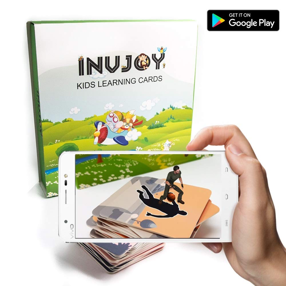 Invjoy Ar Augmented Reality Flash Cards For Kids Action Verbs Giant Flashcard Animals Category Educational Toys Preschoolers 4d Flashcards