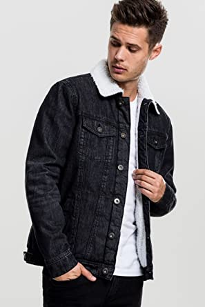 Veste en Jeans Sherpa Urban Classics TB1796 Noire Denim