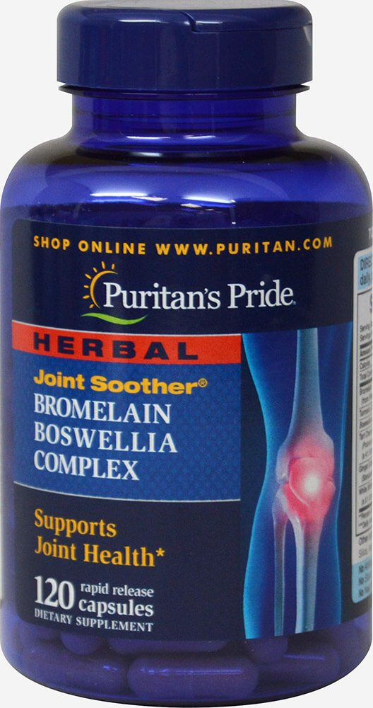 Puritan's Pride Herbal Joint Soother Bromelain Boswellia Complex with Turmeric-120 Capsules