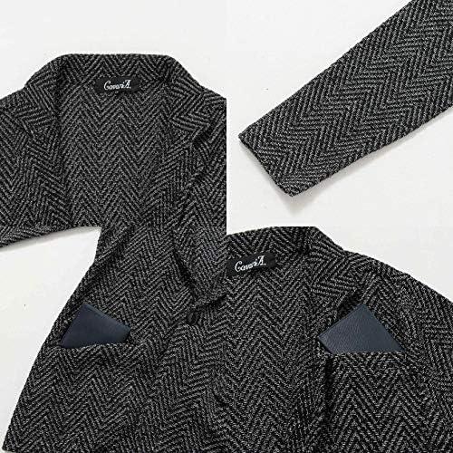 メンズ テーラードジャケット ヘリンボーン柄 ストレッチ 上着 羽織 長袖 CAST20-27【-】