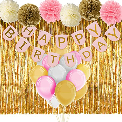 Paxcoo Pink and Gold Birthday Decorations with Birthday Banner Balloons Tissue Flowers Fringe Curtain for Girls 1st Party