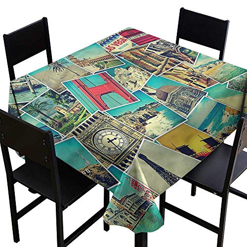 haommhome Stain-Resistant Tablecloth Holiday Snapshots Travel Vacation Excellent Durability W36 xL36 Washable Polyester - Great for Buffet Table, Parties, Holiday Dinner, Wedding & ()