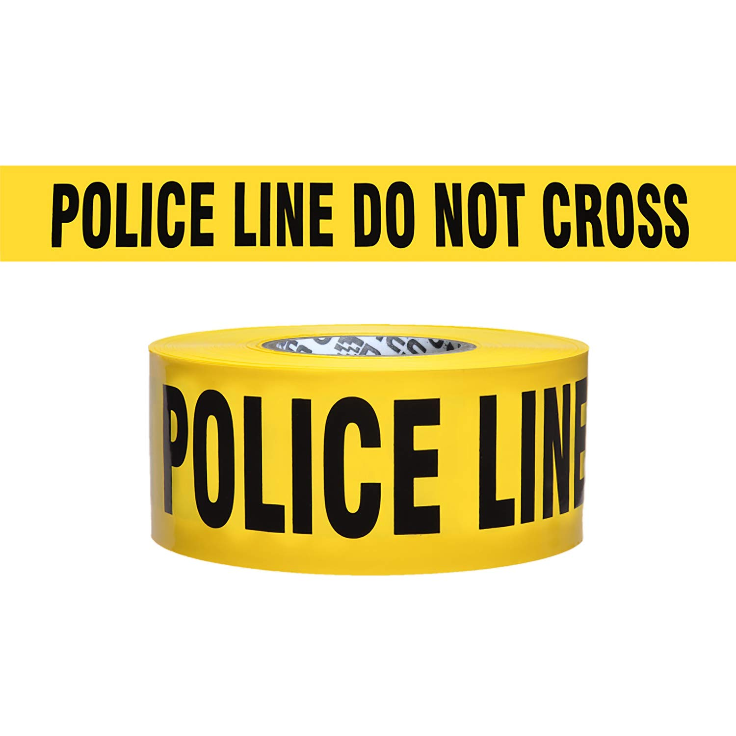 Presco Economy Printed Barricade Tape: 3 in. x 1000 ft. (Yellow with Black''POLICE LINE DO NOT CROSS'' printing)