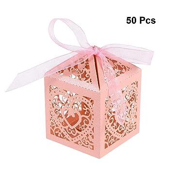 YeahiBaby Cajas de Caramelos Bombones Dulce Chocolate de Papel Cajas de Regalo para Fiesta Boda Decoraciones del Regalo de Cumpleaños Laser 50 Piezas Color ...