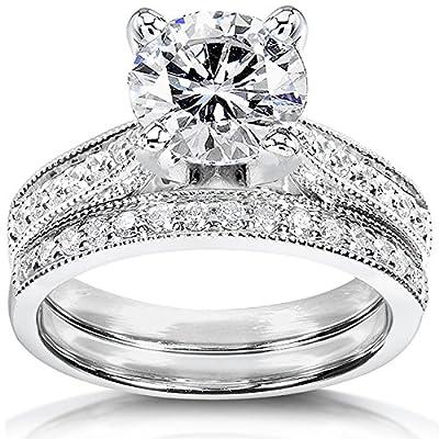 Near-Colorless (F-G) Moissanite Bridal Set with Diamond 2 1/3 CTW 14k White Gold