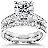 Near-Colorless (F-G) Moissanite Bridal Set with Diamond 2 1/3 CTW 14k White Gold