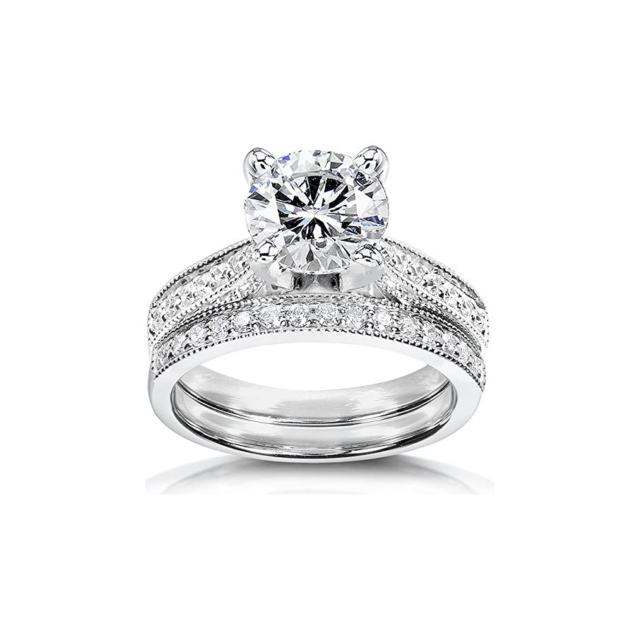 Forever One (D F) Moissanite Bridal Set with Diamond 2 1/5 CTW 14k White Gold