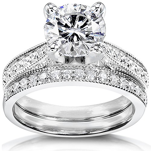 (Near-Colorless (F-G) Moissanite Bridal Set with Diamond 2 1/3 CTW 14k White Gold, Size 8)