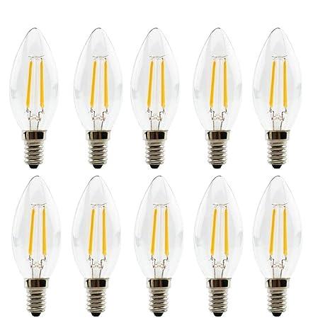 Bombillas LED E14 de filamento no regulable, 2 W, filamento LED, Candelabro,