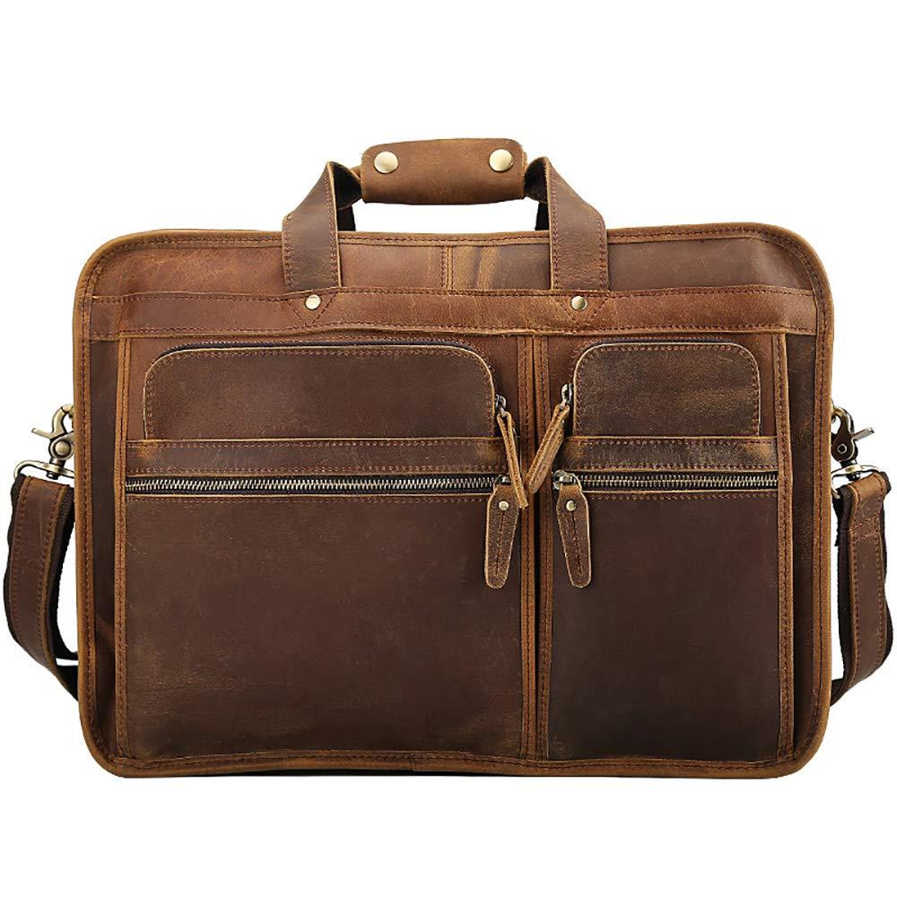 手作りの革 レザービジネスブリーフケーストップレイヤーレザーメンズバッグクレイジーホースレザー17インチラップトップケース - オフィス/ビジネス/スクール/男性 (色 : 褐色) B07R7SBVG2 褐色