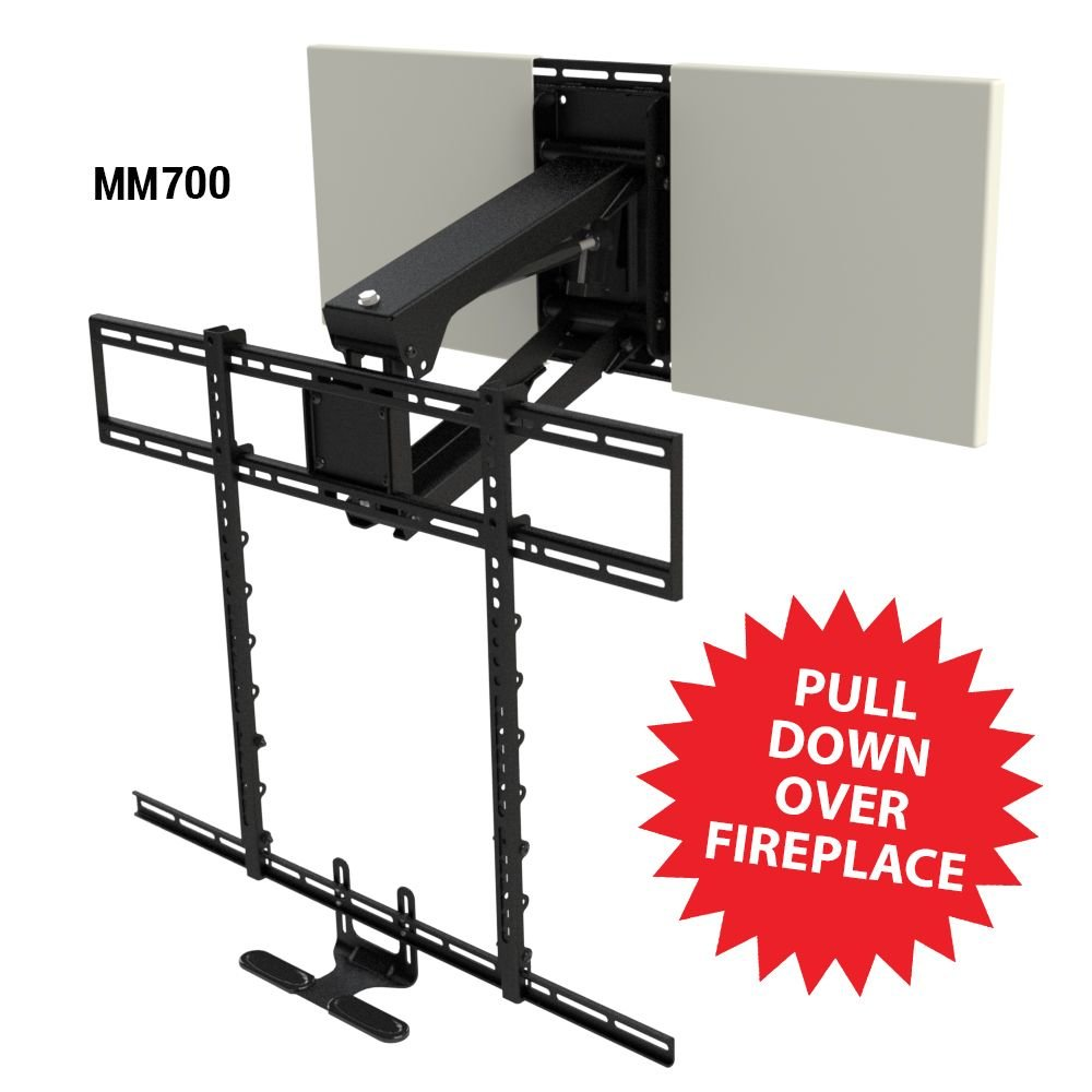 MantelMount MM700 Pro Series Pull Down TV Mount Above Fireplace For 45''-90'' TVs Over Mantel