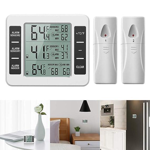 Powstro Termómetro inalámbrico para frigorífico o congelador con alarma audible para interiores y exteriores, con 2 sensores y registro de temperatura ...