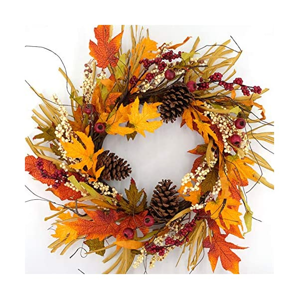 idyllic Artificial Pine Cone Wreath Autumn Wreath with Green and Yellow Leaves Flower Wreath for Front Door Indoor Wall Wedding Home Decoration
