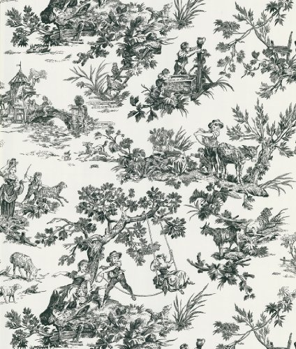 Beacon House 283-46918 Ink Limoges White Toile Wallpaper