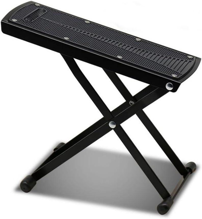 MINGZE Reposapiés de guitarra, reposapiés ajustable de 6 posiciones ajustable, soporte metálico de alta calidad y pedal de guitarra de goma antideslizante (Negro)