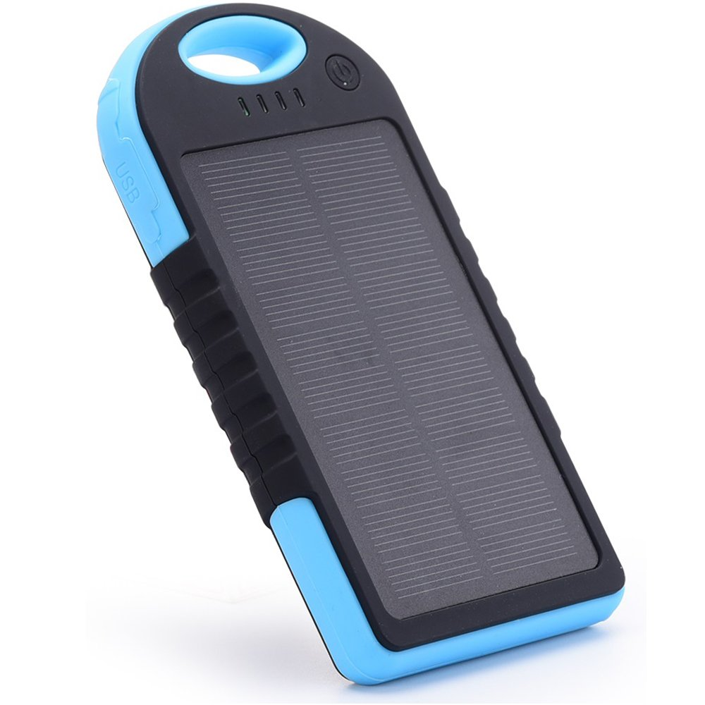 Solar Charger,EFOSHM 12000MAH Solar Power Bank Portable External Battery Capacity Backpack with 2USB Charging Port for Android/Ios Cellphones/Table (Black Blue)