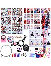 BTS Fans Cadeauset, BTS-cadeauset voor ARMY - 32 BTS Lomo-kaarten / 12 BTS-stickers / 8 BTS transparante kaarten / 1 BTS-beugels / 1 BTS-sleutelhanger / 1 BTS-lanyard / 1 Armbanden / 1 Tattoo-sticker