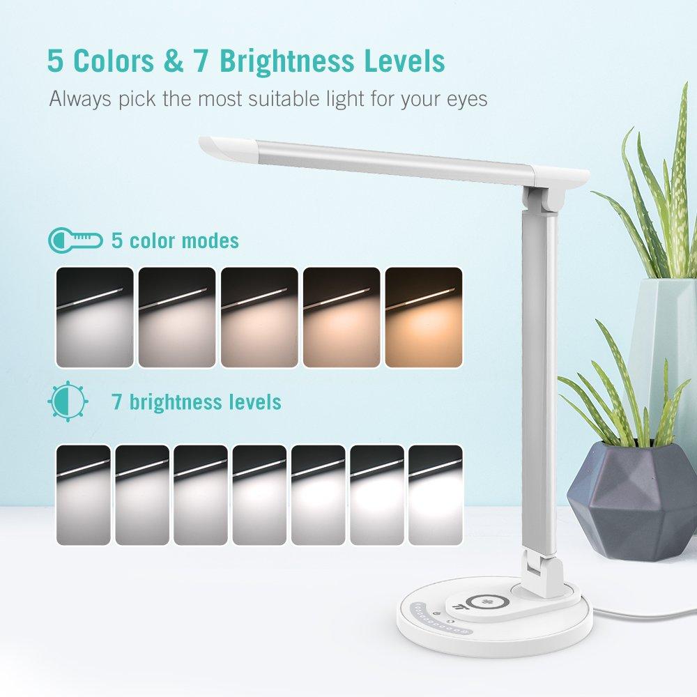 LED Schreibtischlampe TaoTronics Tischlampe mit mit mit kabelloser Ladestation Qi kompatibel Wireless Charger für Samsung iPhone, 5 Farben & 7 Helligkeitsstufen, USB-Ladeanschluss, Erinnerungsfunktion d2c0dd
