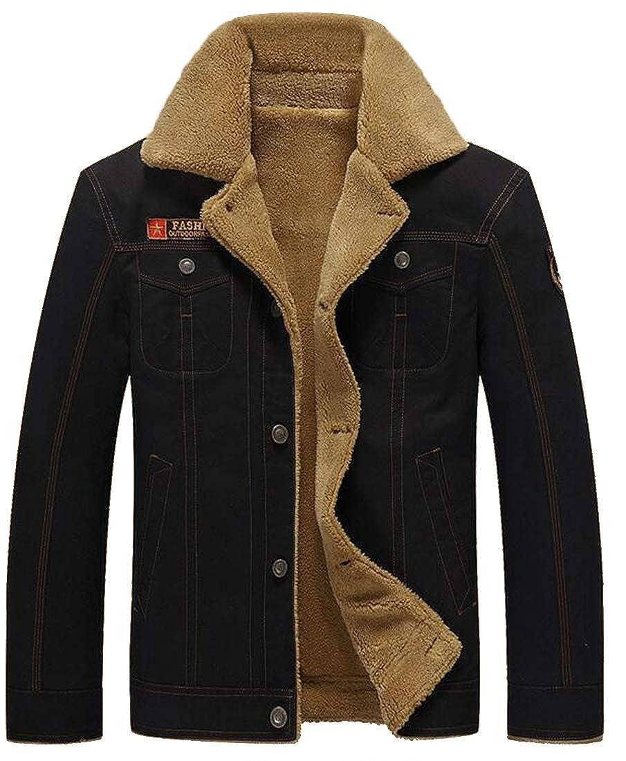 Jofemuho Men Thicken Winter Fleece Plus Size Military Warm Quilted Jacket Coat Outerwear