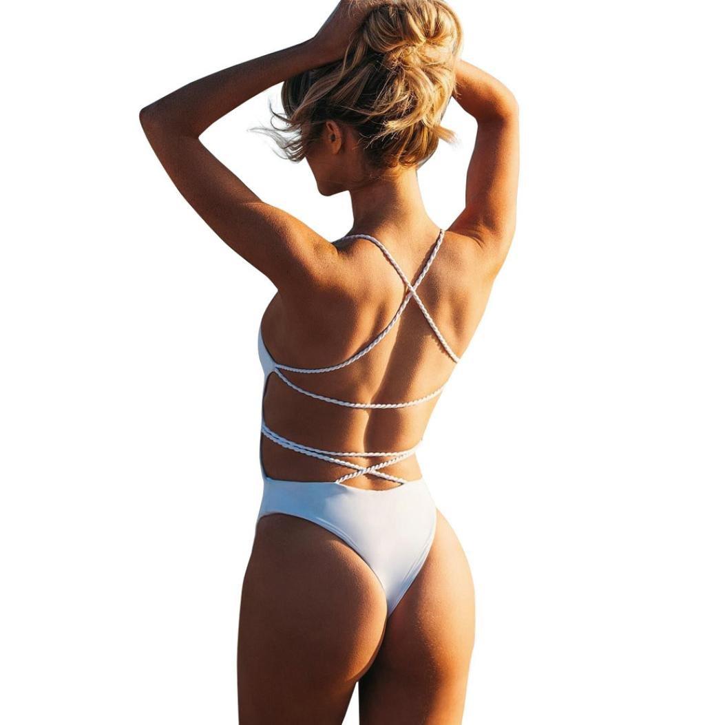 nmch水着ビキニ、女性セクシーワンピース水着水着BlacklessバンデージBathing Suits Beachwear B07B6HKTRT Large|ホワイト ホワイト Large