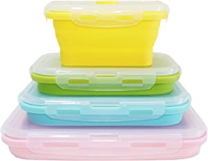 ECOmorning Collapsible Bowls with Airtight Lids for Camping - Set of 4 Silicone Food Storage Containers - BPA Free, Microwave and Freezer Safe