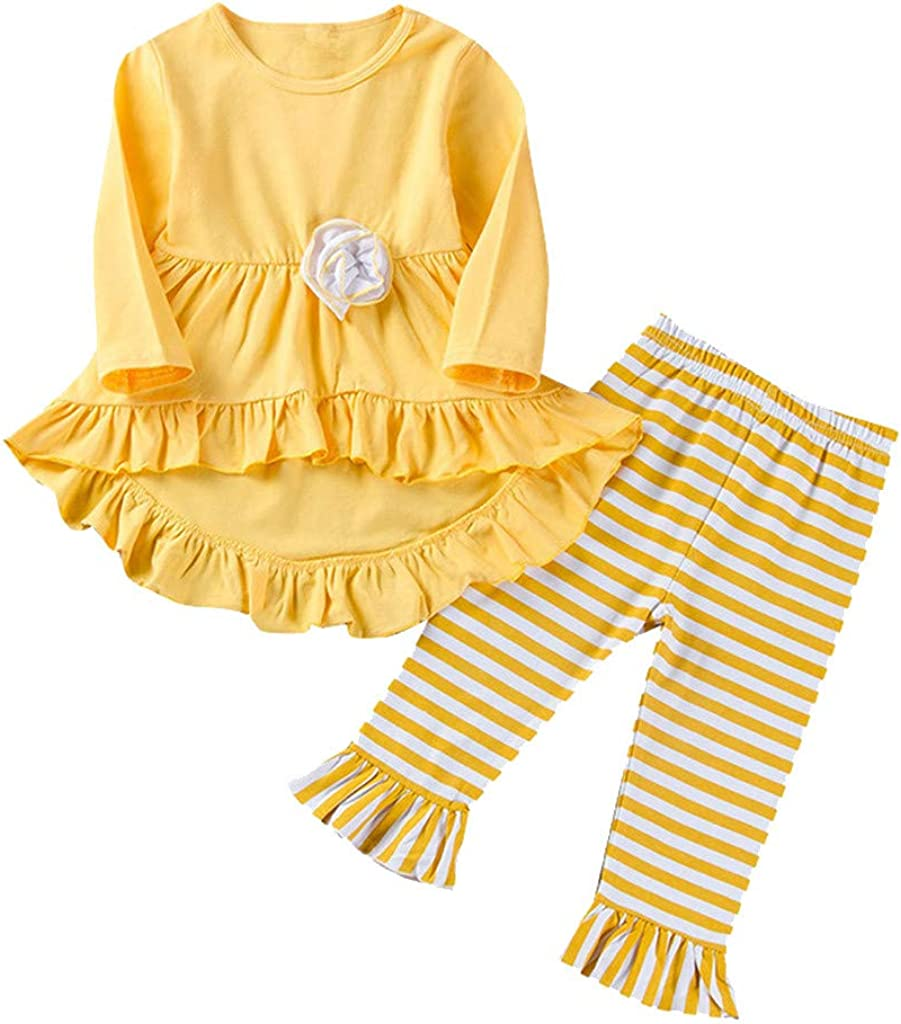 Vinjeely Baby Girl Flower Solid Irregular Ruffle Long Sleeve Tops Striped Pants Outfit Set