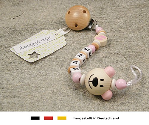 Personalised Baby DUMMY CLIP CHAIN girls motif rose bear /& beige baby foot Pacifier Soother Holder with preferred name