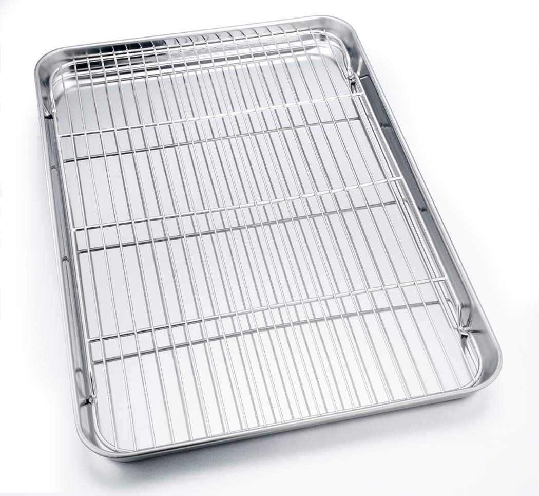 TeamFar Baking Sheet with Cooling Rack, Stainless Steel Full Size Cookie Sheet Pan and Baking Rack Set, 24''×16''×1.3'', Non Toxic & Rust Free, Thick & Heavy Duty, Mirror Finish & Dishwasher Safe