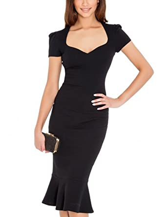 Square neck black cocktail dress