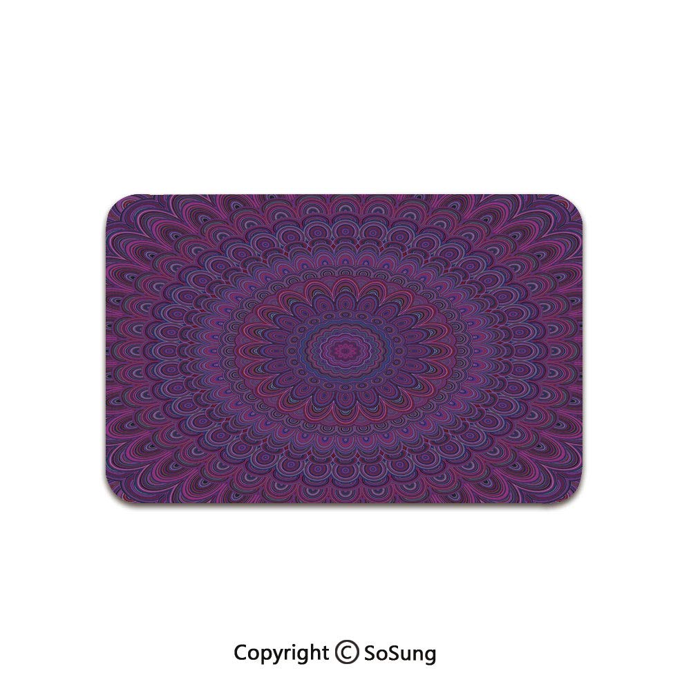 Eggplant Area Rug,Purple Mandala Shape with a Kaleidescopic Style Sixties Inspired Oriental Abstract Art Decorative,for Living Room Bedroom Dining Room,7'x 3',Purple by SoSung