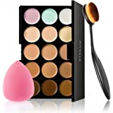 Concealer palette, Anself 15 Colors Makeup Cream Facial Camouflage Concealer Palette with Sponge Puff Oval Makeup Brush…