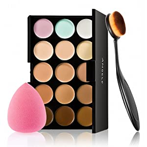 Concealer palette, Anself 15 Colors Makeup Cream Facial Camouflage Concealer Palette with Sponge Puff Oval Makeup Brush for Christmas Gift