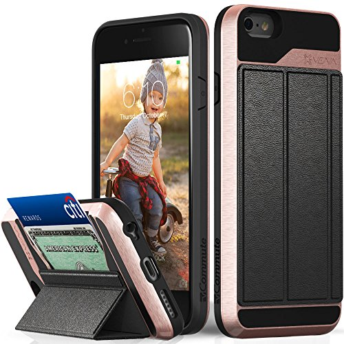 iPhone 6S Wallet Case, Vena [vCommute][Drop Protection] Flip Leather Cover Card Slot Holder with KickStand for Apple iPhone 6 6S (Rose Gold / Black)