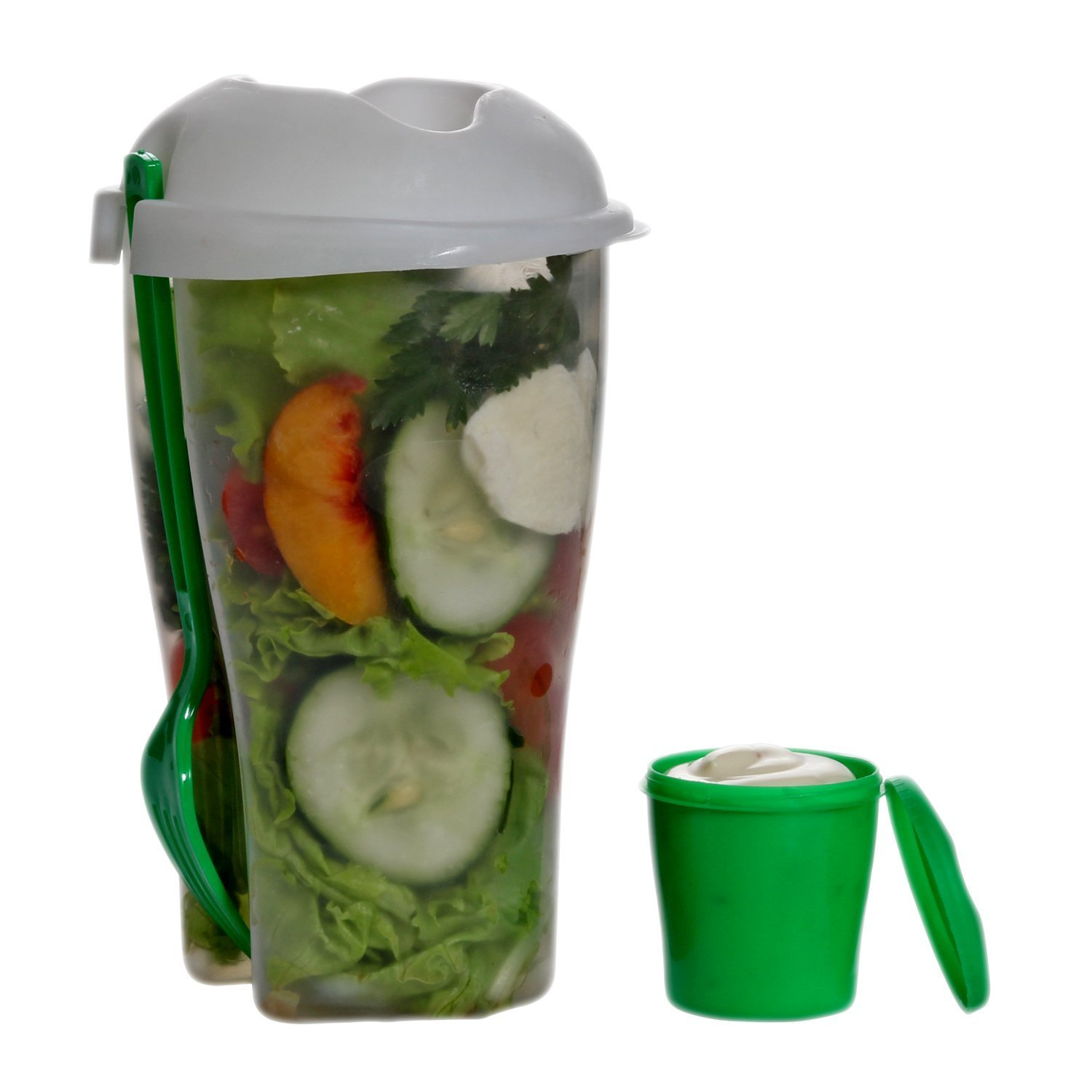 Fresh Salad Container Serving Cup Shaker With Dressing Container Fork Food  Storage Bonus Recipes, Use This Bowl For Picnic, Lunch To Go, Made With  High ...