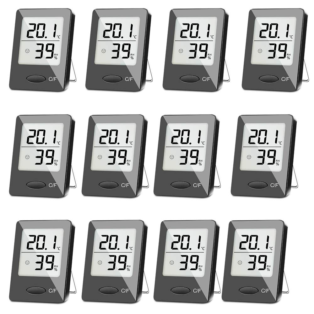 SXCD 12 Pack Digital Hygrometer Indoor Thermometer, Humidity Gauge Indicator Room Thermometer, Accurate Temperature Humidity Monitor Meter for Home, Office, Greenhouse, Mini Hygrometer