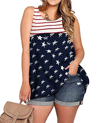 937a6429618 Imily Bela Womens Plus Size Flag Sleeveless Tunic Stars and Strips Patriotic  Tank Top (X