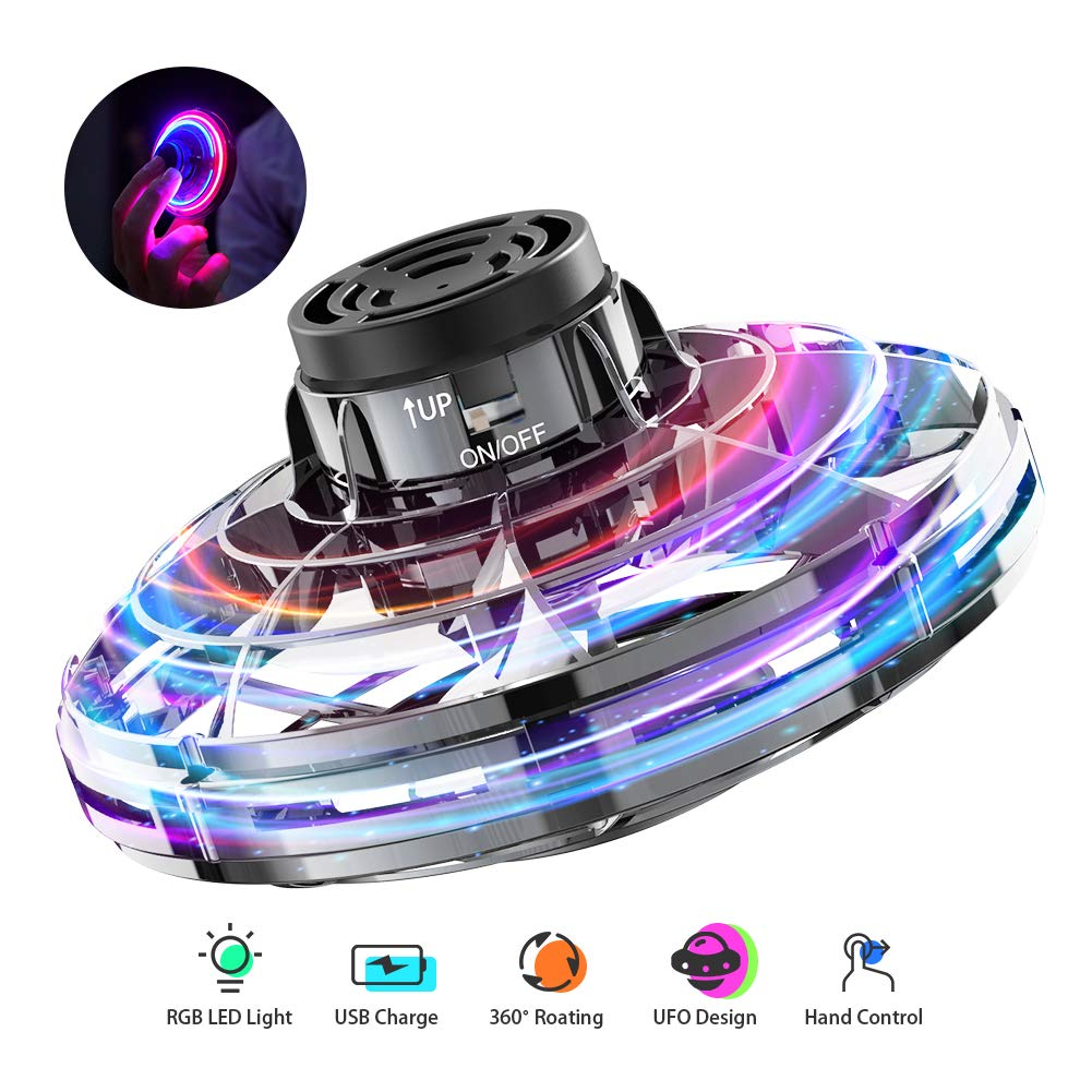 FlyNova Flying Toy, Hand Operated Drones for Kids or Adults, Hand Controlled Flying Ball Toys with 360°Rotating and Shinning LED Lights, Infrared Induction Mini Drone Hand Operated for Office Outdoor