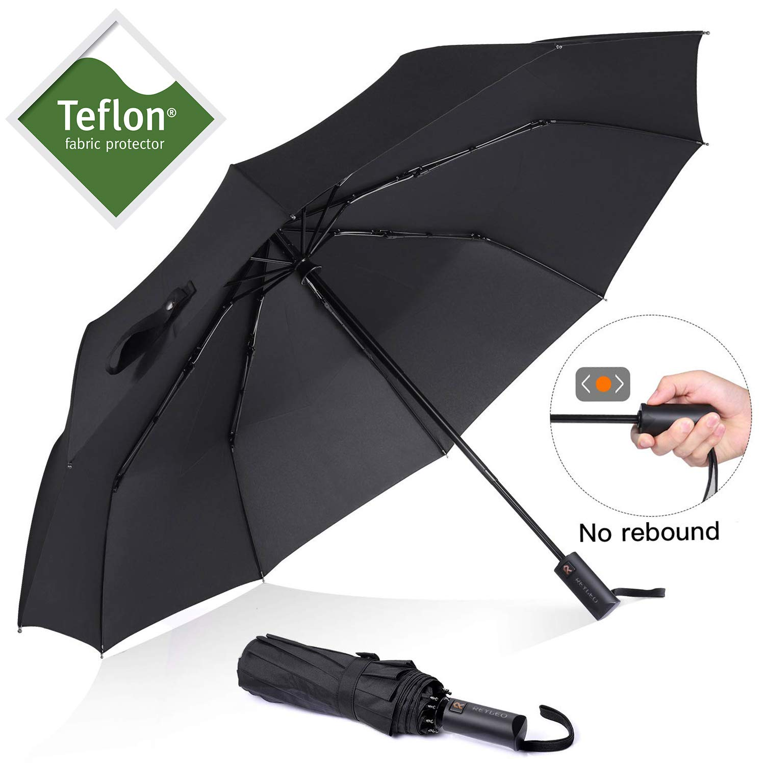 REYLEO Windproof Travel Umbrella with Teflon Coating, Ultralight Only 520g, Auto Open/Close Button, Folding Umbrellas Can be Folded 10000+ Times