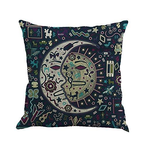 Homedeco Pillow Cushion Cover Decorative Mandala Bohemian Ethnic Style Cotton Linen Retro Home Sofa Couch Throw Pillow Boho Case 18 X 18 (Hippie Decor Shop)