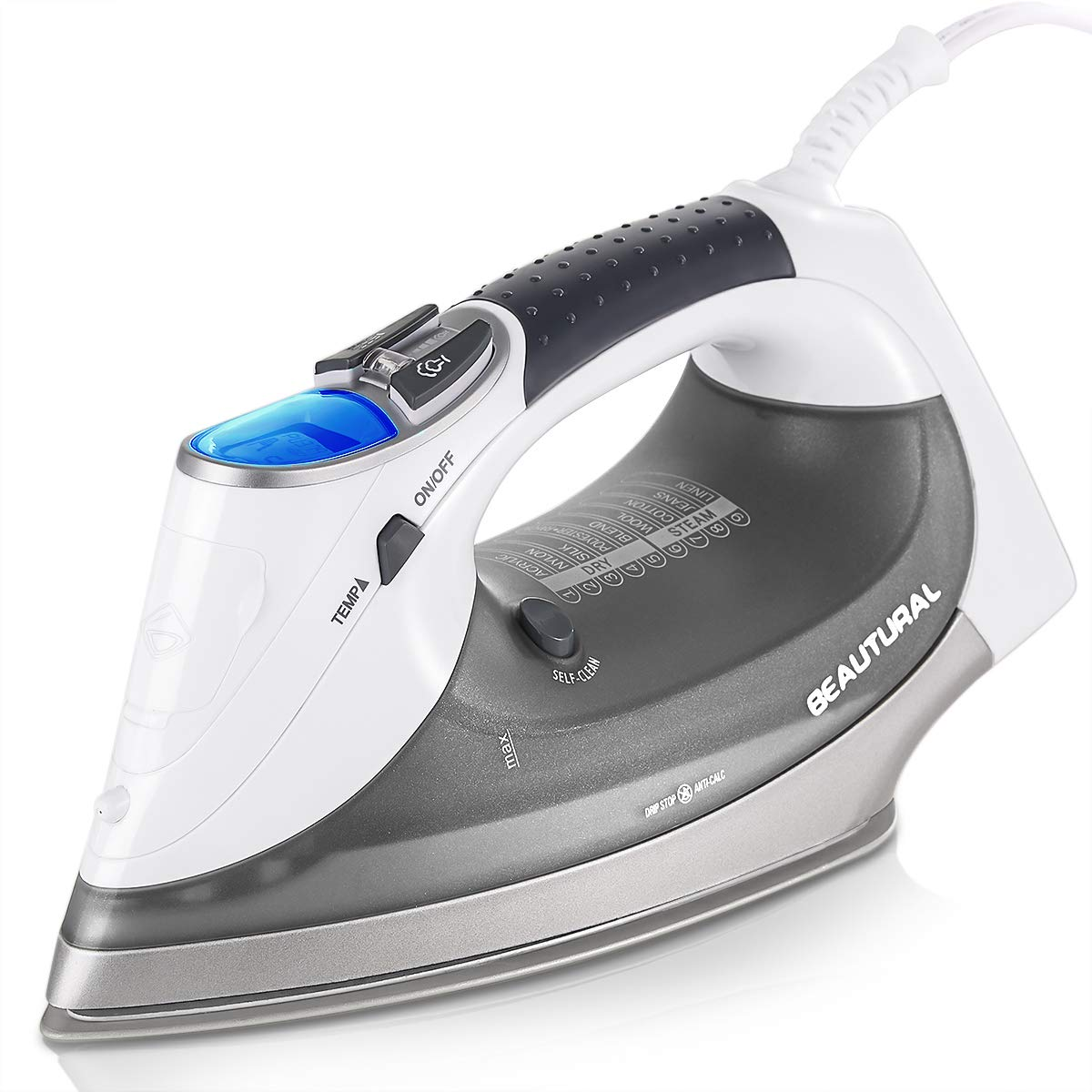 Beautural 1800-Watt Steam Iron with Digital LCD Screen, Double Ceramic Coated Soleplate, 3-Way Auto-Off, 100% Safe, 9 Preset Temperature and Steam Settings for Variable Fabric