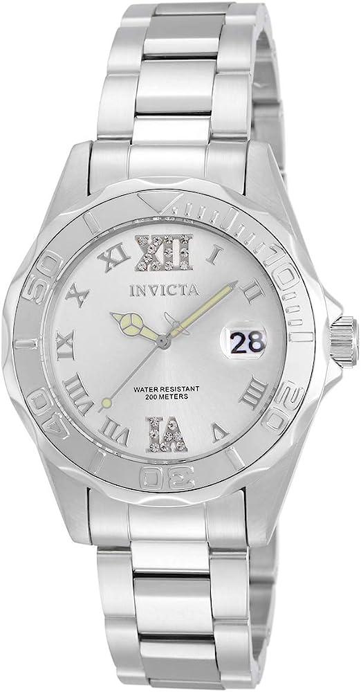 Invicta Women's Pro Diver 38mm Stainless Steel Quartz Watch, Silver (Model: 12851)