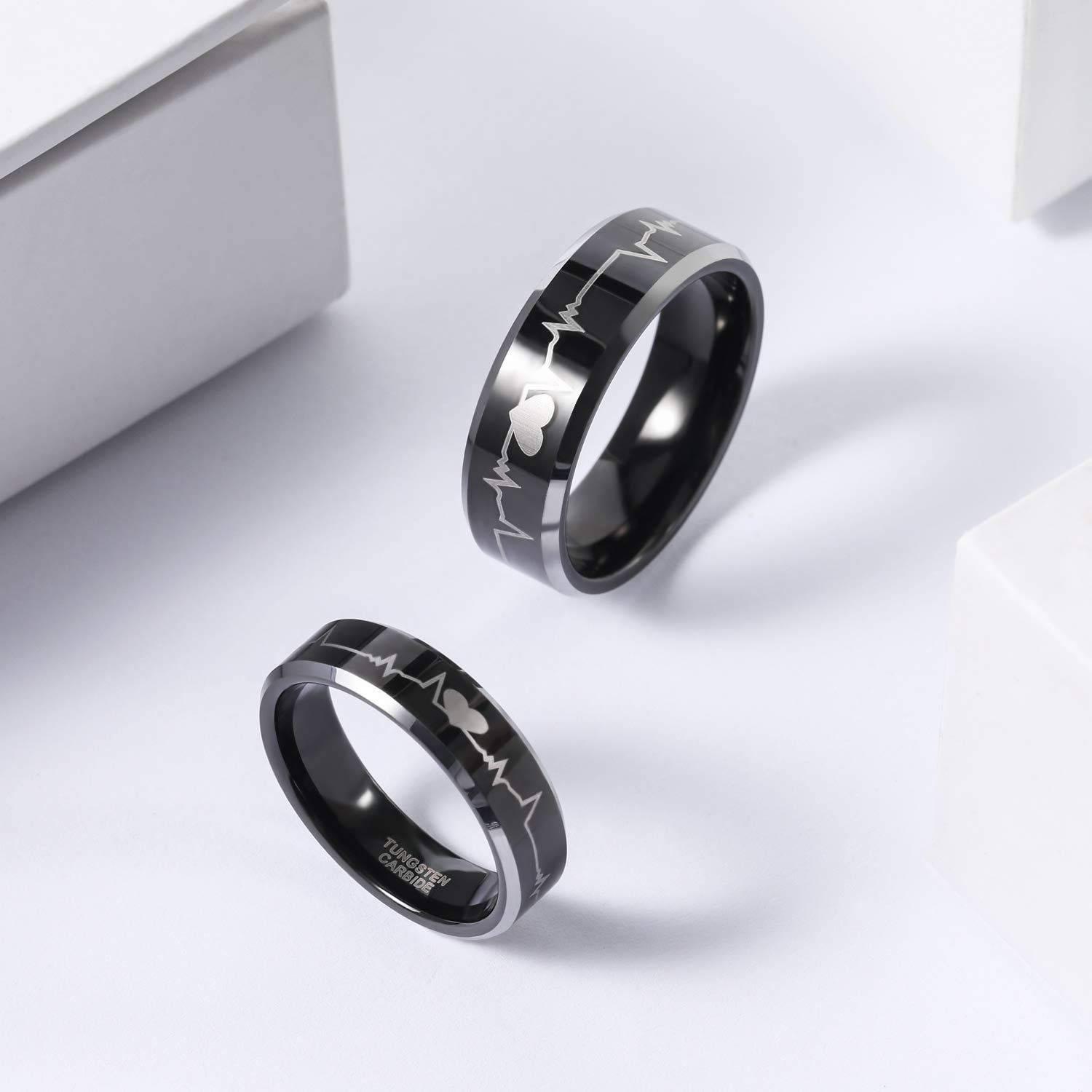 Black Tungsten Carbide Astronomy Ring 8mm Wedding Band Anniversary Ring for Men and Women Size 13.5