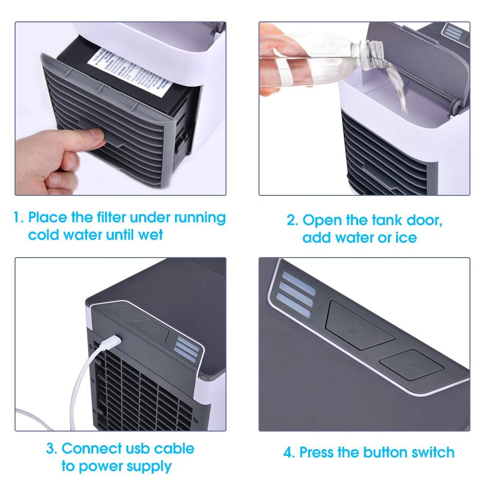 Desktop Table Cooling Fan for Home Bedroom Office 7 Color LED Light SM-US Personal Air Cooler As Seen On TV Adjustable 3 Fan Speeds Portable Air Conditioner Fan Mini Space Cooler and Humidifier