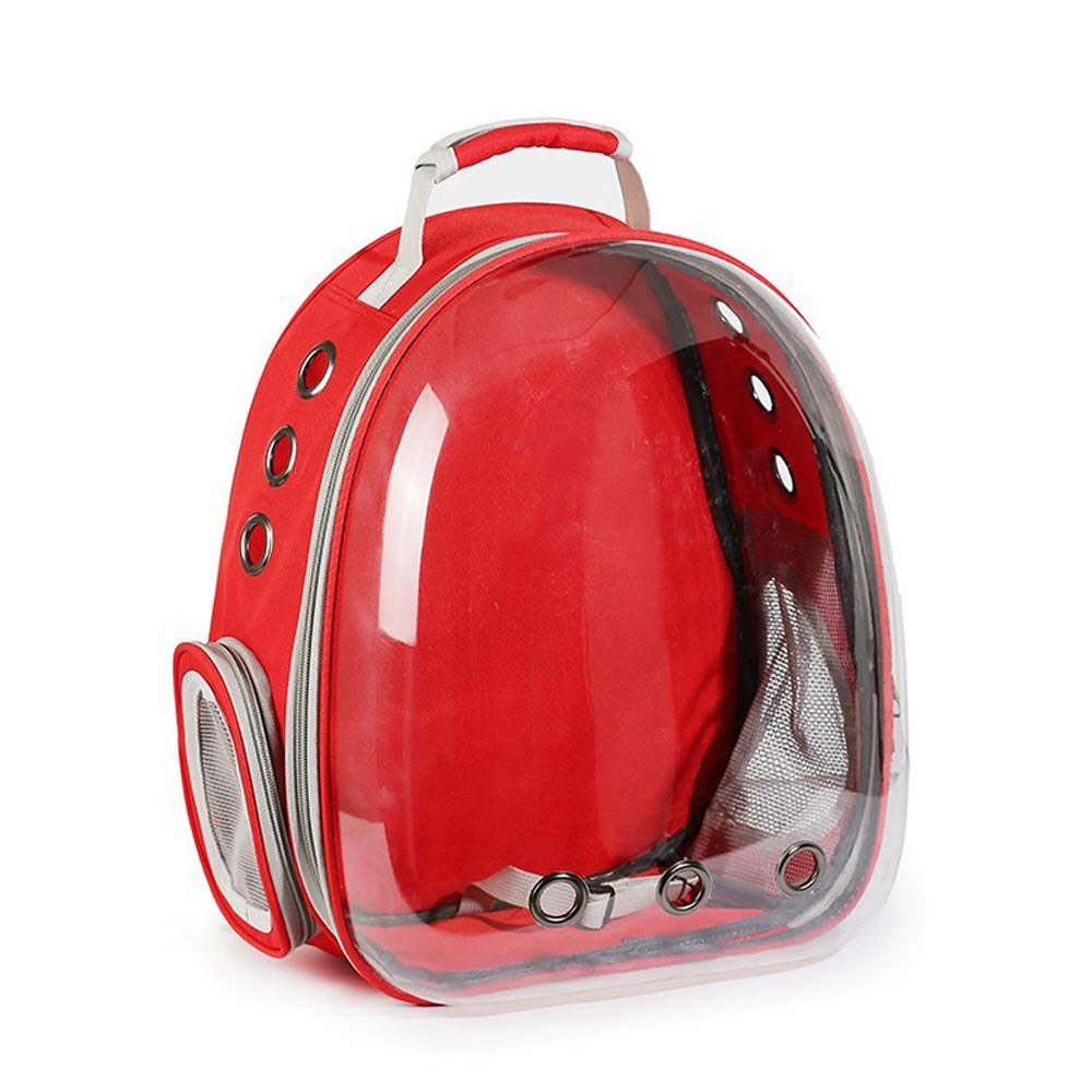 Red Magosca Portable Pet Cat Dog Puppy Backpack Carrier Bubble 360 Degree Transparent Space Capsule Backpack Waterproof Breathable Traveler Bubble Space Pet Carriers Backpack Rucksack Airline