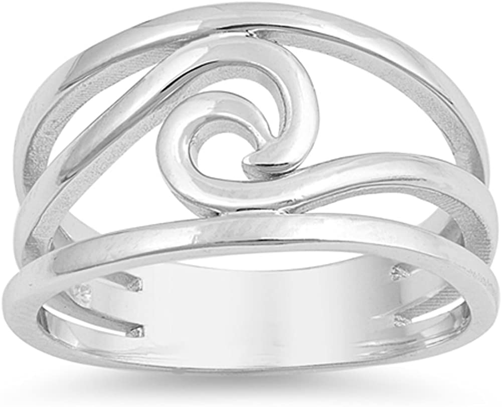 Wave Cutout Ocean Sea Thumb Nature Ring New .925 Sterling Silver Band Sizes 5-10