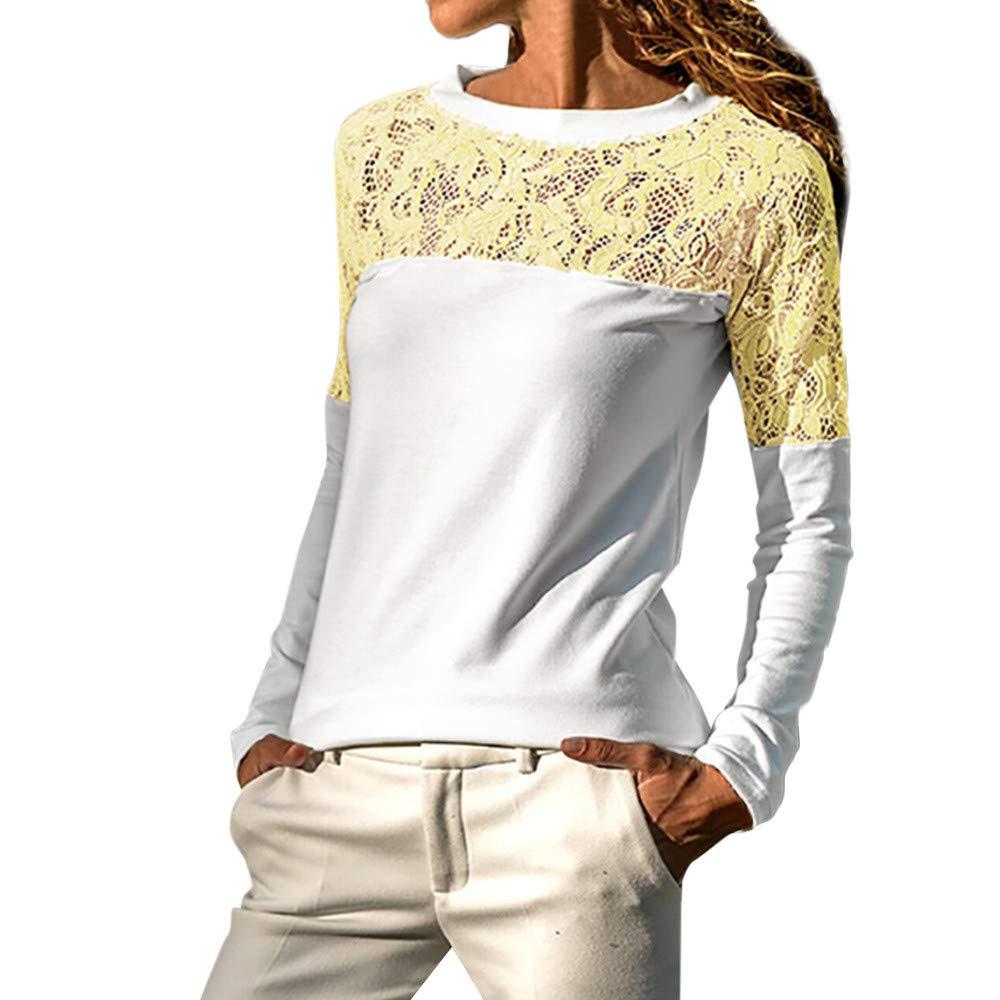 Camisetas para Mujer, BBestseller Mujer Elegantes Sudaderas Manga Larga Encaje Patchwork Blusa Casual Pullover Top Deporte Camisas Mujer Primavera tops-1120